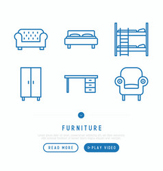 Furniture thin line icons set vector