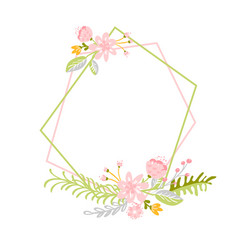 geometric spring wreath with flower flat herb vector image