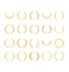 Golden circular laurel or olive wreaths set vector