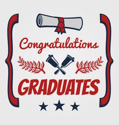 Graduate banner design congratulation card for vector