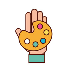 Graphic designer hand with palette color vector