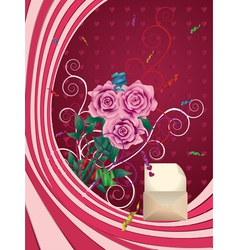 Greeting card with pink roses vector image