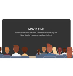Group people sitting in cinema movie time vector