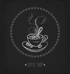 Hand drawn cup of hot coffee on board vector
