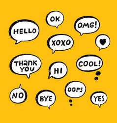 hand drawn set of speech bubbles with handwritten vector image