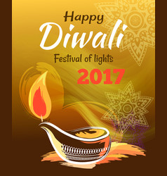 happy diwali festival of lights 2017 banner vector image