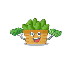 Happy face avocado fruit basket character having vector