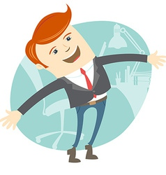 Happy office man in front of his working place vector image