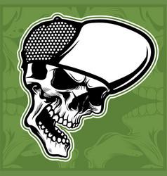 head skull wearing cap hand drawing vector image