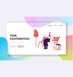 Homeless woman get donation website landing page vector