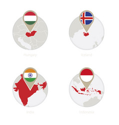 Hungary iceland india indonesia map and flag vector
