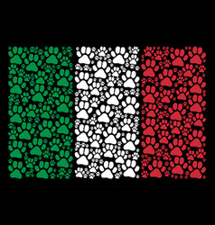 italy flag collage of paw footprint icons vector image
