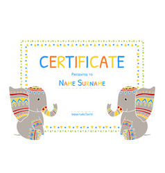 Kids certificate tamplate preschool elementary vector