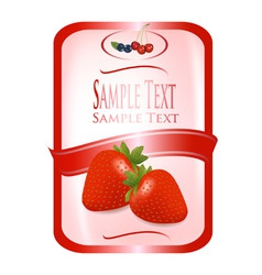 label with strawberry vector image