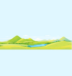 large panorama of hills and slopes vector image