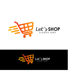lets shopping logo design template shop icon vector image