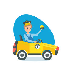 little boy in car at wheel in role taxi driver vector image