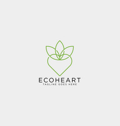 love eco leaf nature logo template icon element vector image