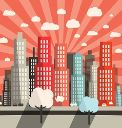 Morning - Evening Flat Design City vector image