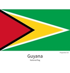 National flag guyana with correct proportions vector