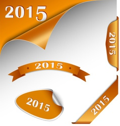 New Year orange card web element vector