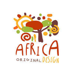 Original african savannah landscape logo vector