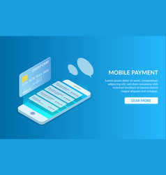 payment by mobile phone or credit card track your vector image