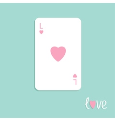 Playing card love ace of heart flat design vector
