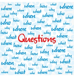 Question and many other word background vector