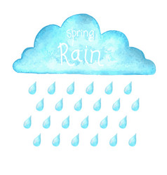 Rain image with blue rain cloud in wet day vector