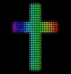 Rainbow colored dot religious cross icon vector