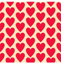 Red flat hearts seamless background pattern vector image