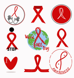 red ribbon awareness sign for your design vector image