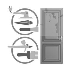 Restore a wood door concept vector
