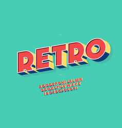 Retro font 3d bold style trendy typography vector