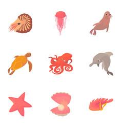 Sea lane icons set cartoon style vector