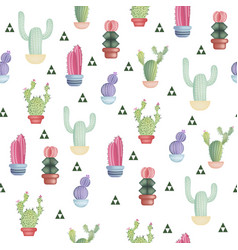 seamless pattern with different colorful cactuses vector image