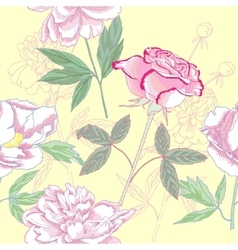 Seamless pattern with rose and peonies vector