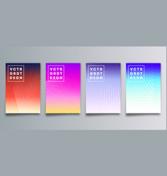 set colorful gradient cover with halftone vector image
