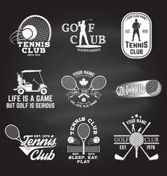 set of golf club tennis club concept vector image
