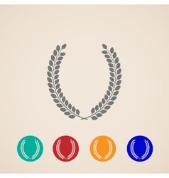 set of icons with laurel wreaths vector image