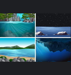 Set water background scenes vector
