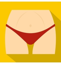 Slim woman body in red panties icon flat style vector image