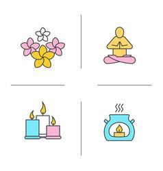 spa salon color icons set vector image