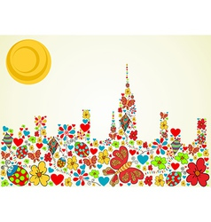 Spring time city skyline background vector image
