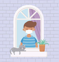 Stay at home boy with medical mask and cat in the vector
