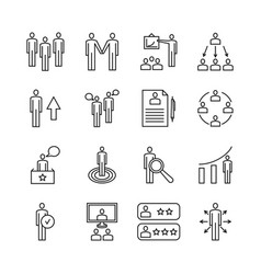 Team work line icons and management linear vector