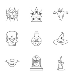 Terrible holiday icons set outline style vector