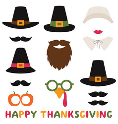 Thanksgiving photo booth props pilgrim vector