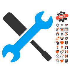 tools icon with valentine bonus vector image